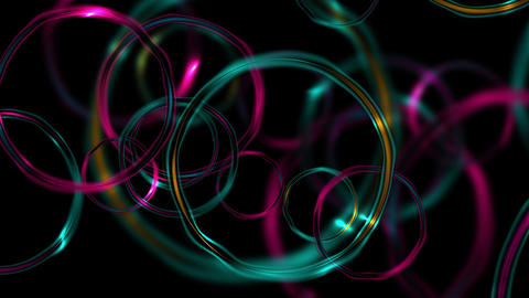 Colorful abstract glossy glowing rings video animation Animation
