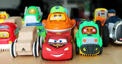 Various Aligned Toy Cars For Children 영상물