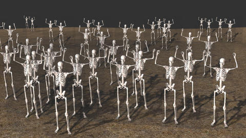 Large Group of Skeletons, Standing in Dirt 애니메이션