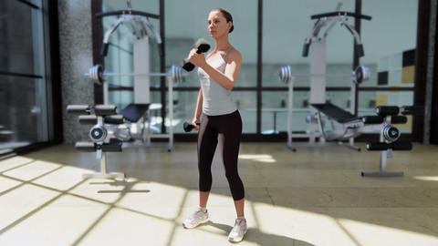 Gym with a variety of exercise equipment and a sportswoman doing sports CG動画素材