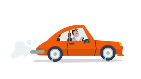 Man drives a car Animation