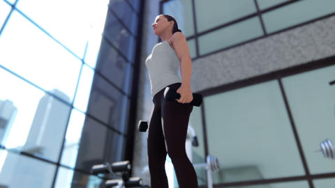 Gym with a variety of exercise equipment and a sportswoman doing sports Animation