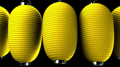 Yelow paper lantern on black background CG動画素材