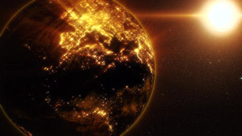 3D Earth of the Golden Blinding Lights Motion Background CG動画素材