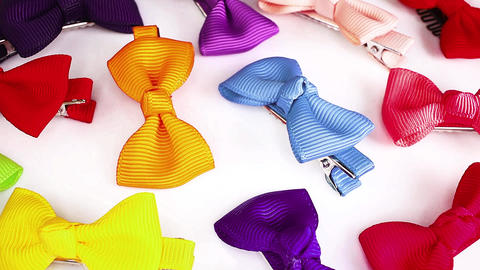 Bow hair clips colorful rainbow bows Live Action