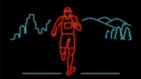 Marathon Runner Running Neon Sign 2D Animation Animation