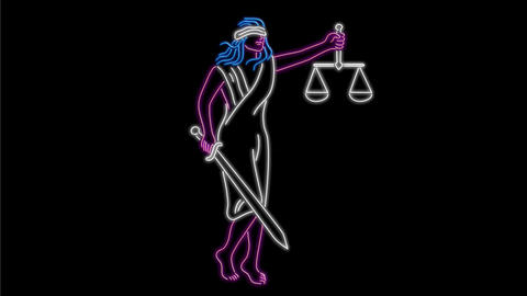 Lady Justice Holding Sword and Balance Neon Sign 2D Animation Animation