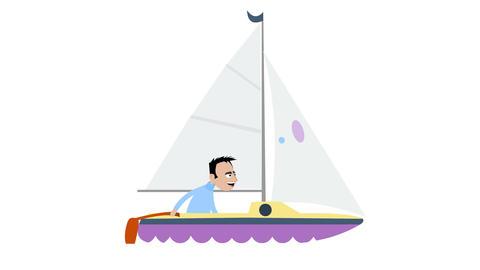 Man sails a sailboat Animation