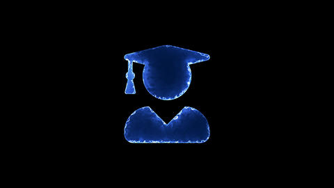 Symbol user graduate. Blue Electric Glow Storm. looped video. Alpha channel Animation