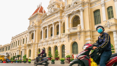 Timelapse of Ho Chi Minh City Hall in early morning, Vietnam Footage