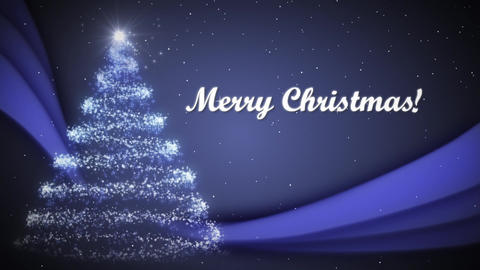 Christmas Card Blue Background with Merry Christmas Text Animation