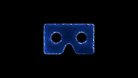 Symbol vr cardboard. Blue Electric Glow Storm. looped video. Alpha channel black Animation