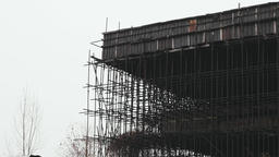 Scaffold of an Unfinished Abandoned Building in Eastern Europe Footage