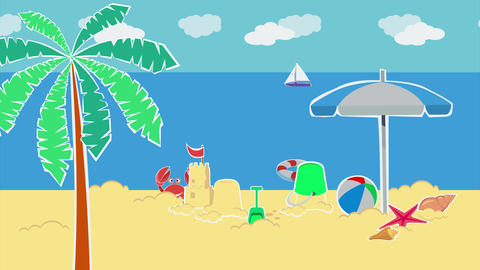 Sand castle and beach toys on the beach Animation
