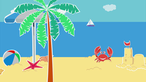 Moving landscape of sandy beach with sand castle and beach toys Animation