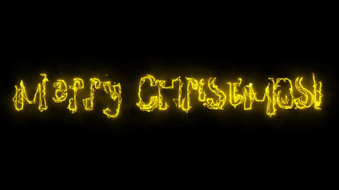 Video footage on black background Merry Christmas iridescent letters Animation