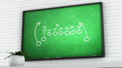 4K American Football Tactics on Green Chalkboard in White Room 2 Animation