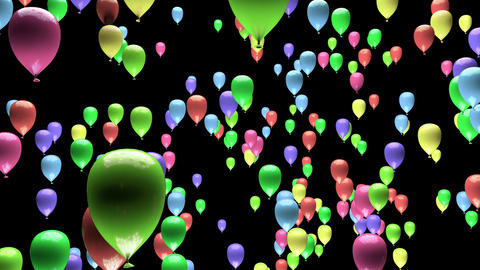 4K Color Changing Pastel Party Balloons Ascending with Matte 3D Animation Animation