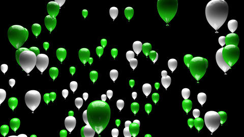 Green White Balloons Ascending with Matte 3D Animation Animation