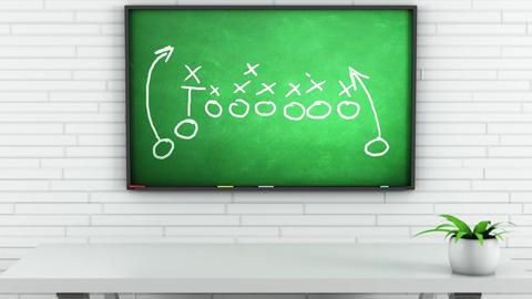 4K American Football Tactics on Green Chalkboard in White Room 1 Animation
