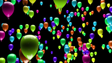 4K Color Changing Party Balloons Ascending with Matte 3D Animation Animation