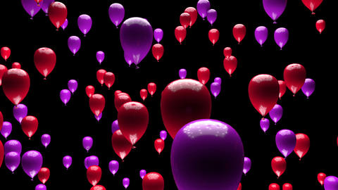 Purple Red Balloons Ascending with Matte 3D Animation Animation