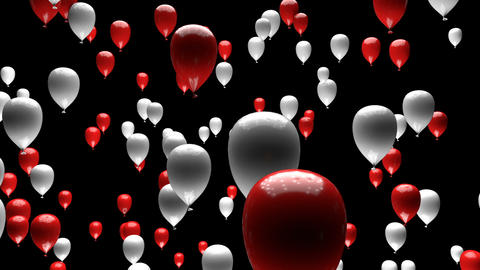 Red White Balloons Ascending with Matte 3D Animation Animation