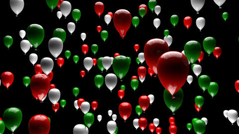 Green White Red Balloons Ascending with Matte 3D Animation Animation