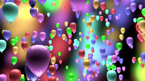 4K Pastel Color Party Balloons Ascending 3D Animation Animation
