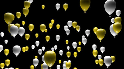 Yellow White Balloons Ascending with Matte 3D Animation Animation