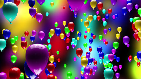 4K Colorful Party Balloons Ascending 3D Animation Animation