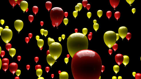 Yellow Red Balloons Ascending with Matte 3D Animation Animation