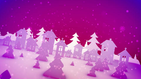 Christmas paper buildings in pink backdrop Animation