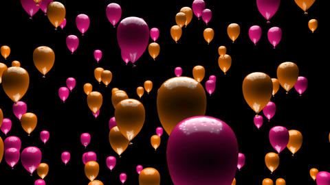 Pink Orange Balloons Ascending with Matte 3D Animation Animation