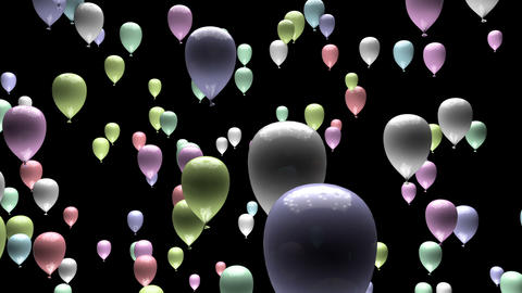Pastel Balloons Changing Color Ascending with Matte 3D Animation Animation