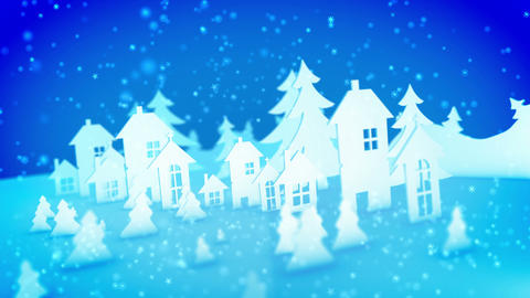 Christmas paper buildings and sparkling snow Animation