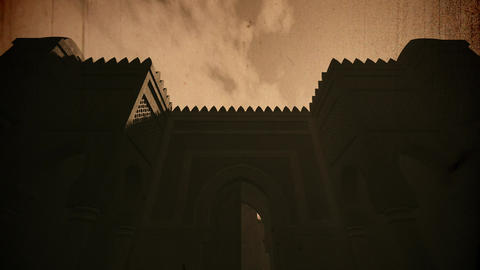 4K Middle Eastern Fantasy Tale Building in the Sunset 3D Animation Vintage Animation