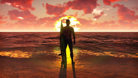 Silhouette of a young male surfer standing on the beach at sunrise with a Animation