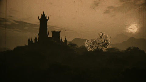 Fantasy Castle on Hilltop in a Fabolous Mystery Land 3D Animation Vintage Animation