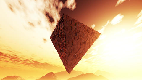4K Surrealistic Sci-Fi Upside Down Abstract Pyramid Levitate 3D Animation 1 Animation