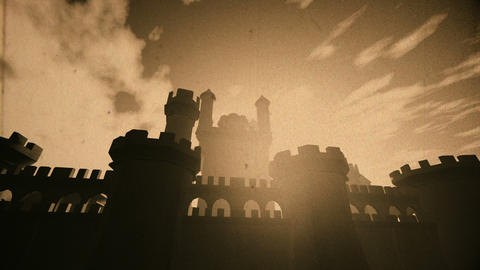 Medieval Castle with Bastions 3D Animation Vintage Animation