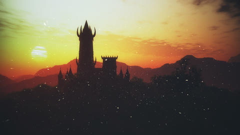 Spooky Fantasy Castle Sunset with Fire Flies in a Mysterious Land 3D Animatio Animation