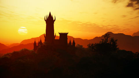 Fantasy Castle Sunset in a Mysterious Land 3D Animation Animation