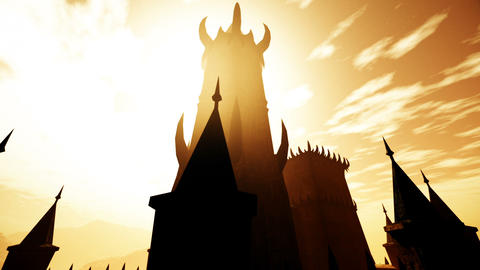 Scary Fantasy Castle in the Sunset 3D Animation Animation