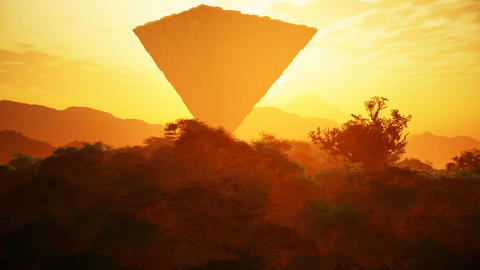 Upside Down Sci-Fi Pyramid Fantasy Scene Sunset 3D Animation Animation