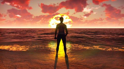 Sportswoman doing sports on the ocean at sunrise. Beautiful summer looped Animation