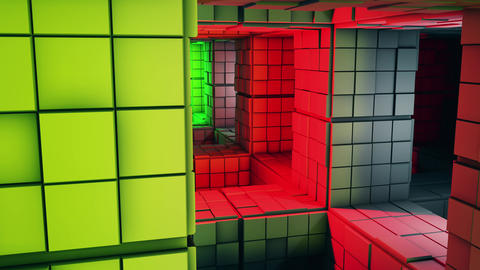 4K Sci-Fi Multicolor Minimalist Cube Maze Fantasy 3D Animation Animation
