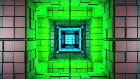 4K Science Fiction Multicolor Minimalist Cube Maze Fantasy 3D Animation Animation