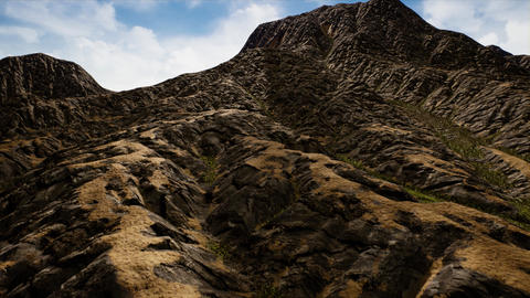 4K Aerial View of an Eroded Mountain Range 3D Animation Animation