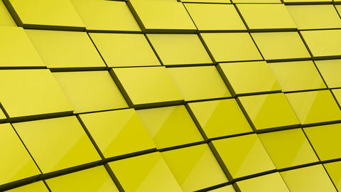 Minimalist Reflective Yellow Cubic Blocky Wall 3D Background Animation Animation
